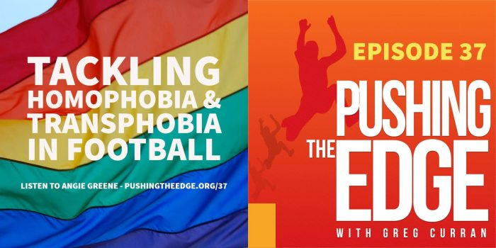 Image of rainbow flag with text Tackling Homophobia and Transphobia in sport.